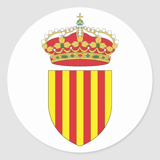 Coat Arms Cataluña Official Spain heraldry Symbol Classic Round Sticker
