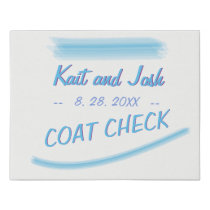 Coat Check Sign Minimalist Soft Ambiance Blue
