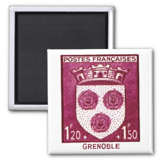 Coat of Arms, Grenoble France 2 Inch Square Magnet