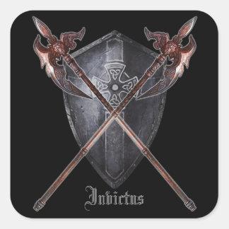 Coat of Arms - Invictus (Black Letter Outline) Square Sticker