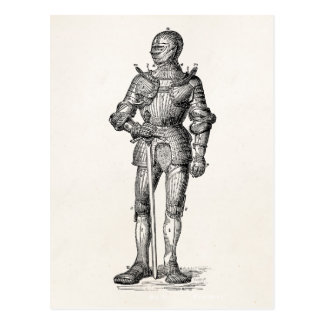 Coat of Arms Knight Shining Armor Sword Medieval Postcard