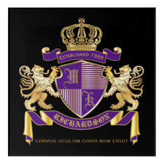 Coat of Arms Monogram Emblem Golden Lion Shield Acrylic Print