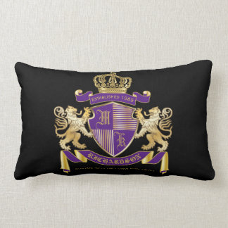 Coat of Arms Monogram Emblem Golden Lion Shield Lumbar Pillow