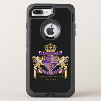 Coat of Arms Monogram Emblem Golden Lion Shield OtterBox Defender iPhone 8 Plus/7 Plus Case