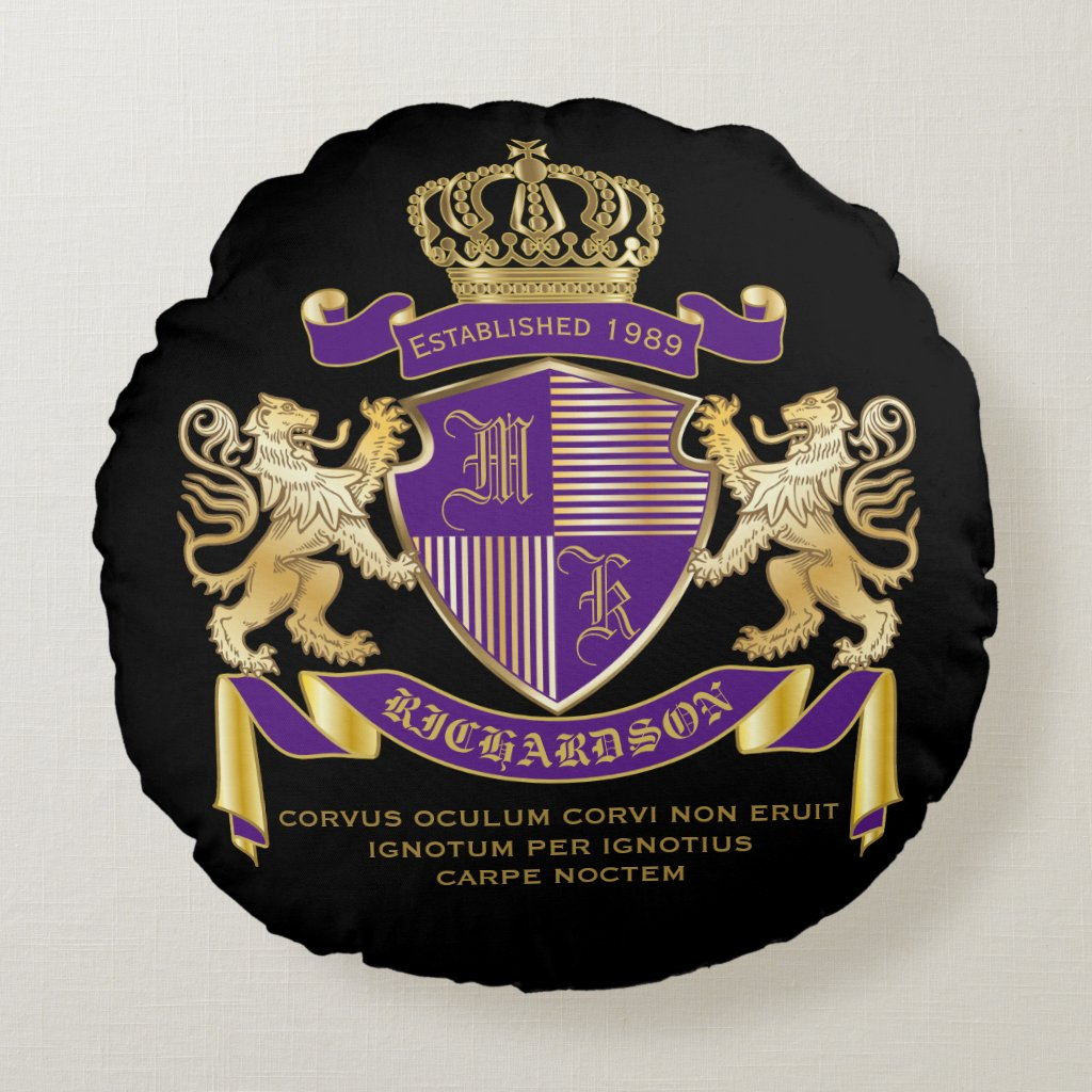 Coat of Arms Monogram Emblem Golden Lion Shield Round Pillow