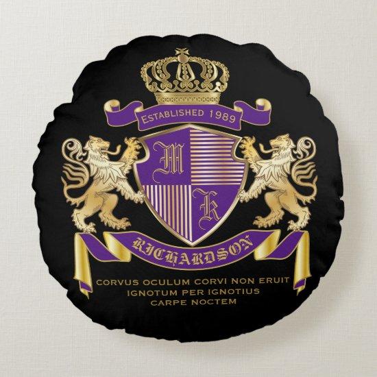 Coat of Arms Monogram Emblem Golden Lion Shield Round Pillow