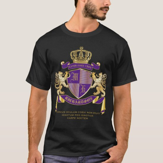 Coat of Arms Monogram Emblem Golden Lion Shield T-Shirt