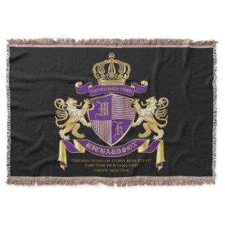 Coat of Arms Monogram Emblem Golden Lion Shield Throw