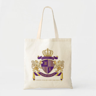 Coat of Arms Monogram Emblem Golden Lion Shield Tote Bag