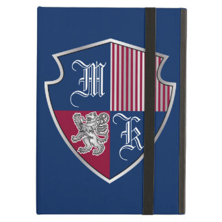 Coat of Arms Monogram Emblem Silver Lion Shield Case For iPad Air
