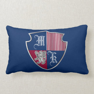Coat of Arms Monogram Emblem Silver Lion Shield Lumbar Pillow