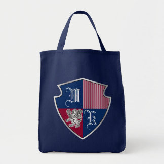Coat of Arms Monogram Emblem Silver Lion Shield Tote Bag