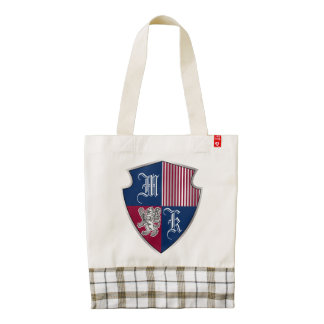 Coat of Arms Monogram Emblem Silver Lion Shield Zazzle HEART Tote Bag