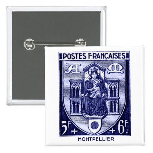 Coat of Arms, Montpellier France 2 Inch Square Button