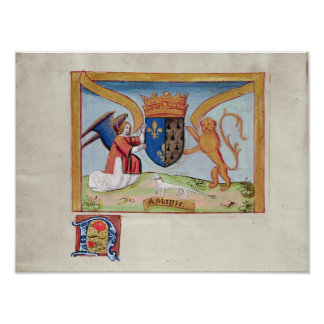 Coat of Arms of Anne of Brittany  1515 Poster