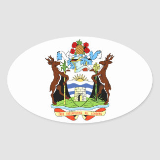 Coat of arms of Antigua and Barbuda Oval Sticker
