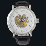 "Coat of arms of Armenia Watch<br><div class=""desc"">The current coat of arms was adopted on April 19,  1992,  by the Armenian Supreme Council decision. On June 15,  2006,  the law on the state coat of arms of Armenia was passed by the Armenian Parliament</div>"