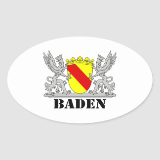 Coat of arms of Baden of Baden seize mi writing ba Oval Sticker