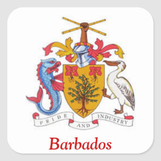 Coat of arms of Barbados Square Stickers