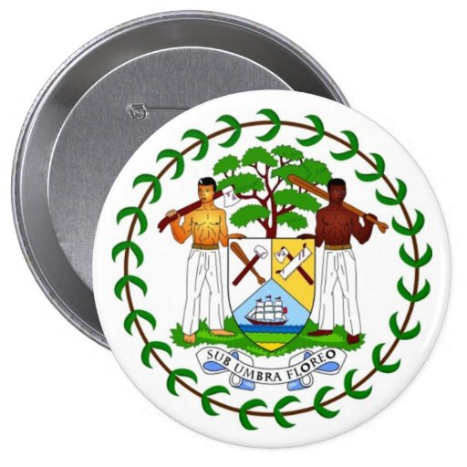Coat of arms of Belize 4 Inch Round Button