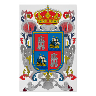 Coat of arms of Campeche Mexico Official Symbol Poster