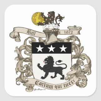 Coat of Arms of Colonel William Ball of Virginia. Square Sticker