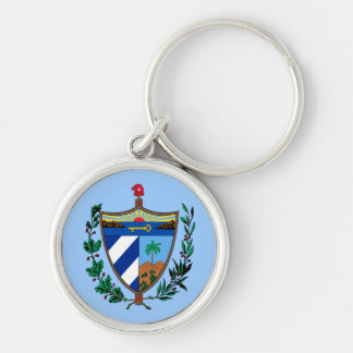 Coat of arms of Cuba Silver-Colored Round Keychain