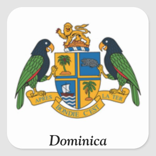 Coat of arms of Dominica Square Sticker