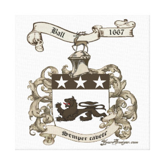 Coat of Arms of Edward Ball of Branford, CT Canvas Print