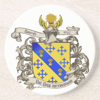 Coat of Arms of John Bancroft of Lynn, MA 1632 Coasters