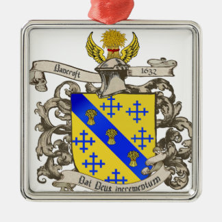 Coat of Arms of John Bancroft of Lynn, MA 1632 Metal Ornament