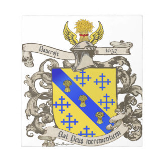 Coat of Arms of John Bancroft of Lynn, MA 1632 Notepad