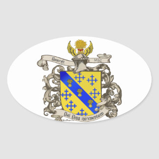 Coat of Arms of John Bancroft of Lynn, MA 1632 Oval Sticker