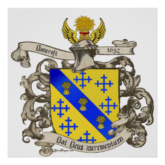 Coat of Arms of John Bancroft of Lynn, Massachuset Poster