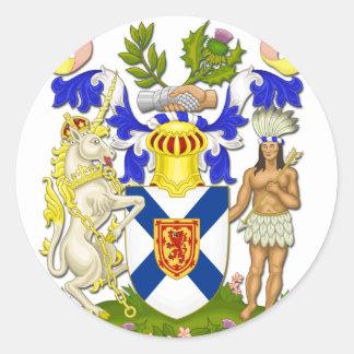 Coat Of Arms Of Nova Scotia Classic Round Sticker