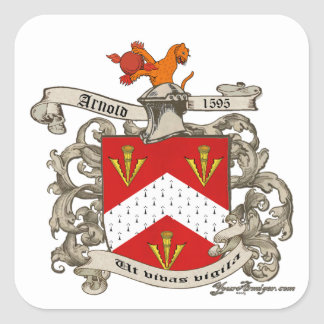 Coat of Arms of Richard Arnold of Dorset, England Square Stickers