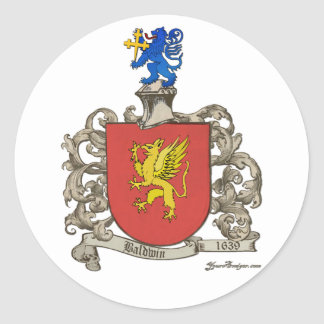 Coat of Arms of Samuel Baldwin of Windsor, MA Classic Round Sticker