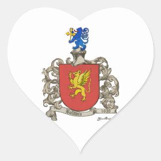 Coat of Arms of Samuel Baldwin of Windsor, MA Heart Sticker