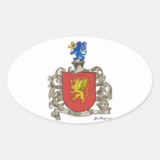 Coat of Arms of Samuel Baldwin of Windsor, MA Oval Sticker