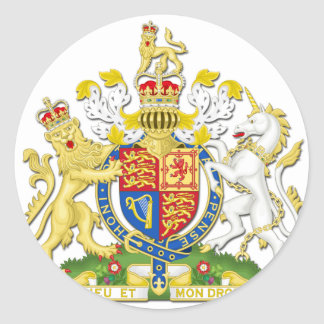 Coat Of Arms Of The United Kingdom Classic Round Sticker