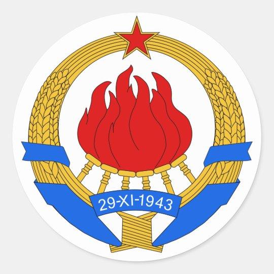 Coat of Arms of Yugoslavia (1945-1992) Classic Round Sticker