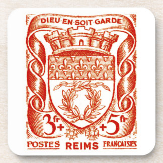 Coat of Arms, Reims France. Beverage Coaster