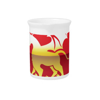 Coat of arms Shield and Golden Dragon vector Drink Pitcher