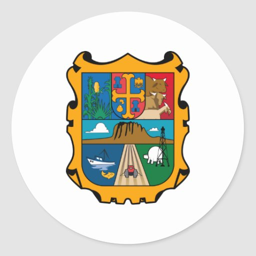 Coat of Arms Tamaulipas Official Mexico Symbol Round Sticker