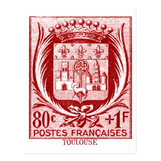 Coat of Arms, Toulouse France Postcard