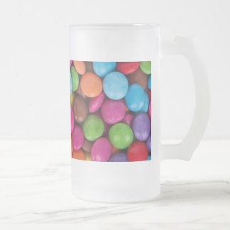 Coated Chocolate Candies in a Pile Frosted Glass Beer Mug