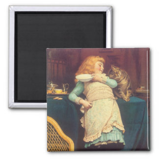 Coaxing Better Than Teasing Charles Burton Barber 2 Inch Square Magnet