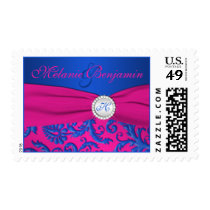 Cobalt and Fuchsia Damask Monogram Postage
