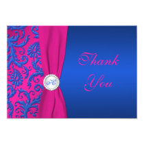 Cobalt and Fuchsia Damask Monogram Thank You Card