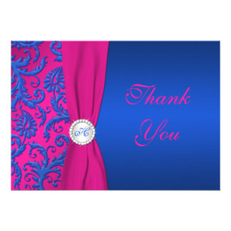 Cobalt and Fuchsia Damask Monogram Thank You Card Invitations